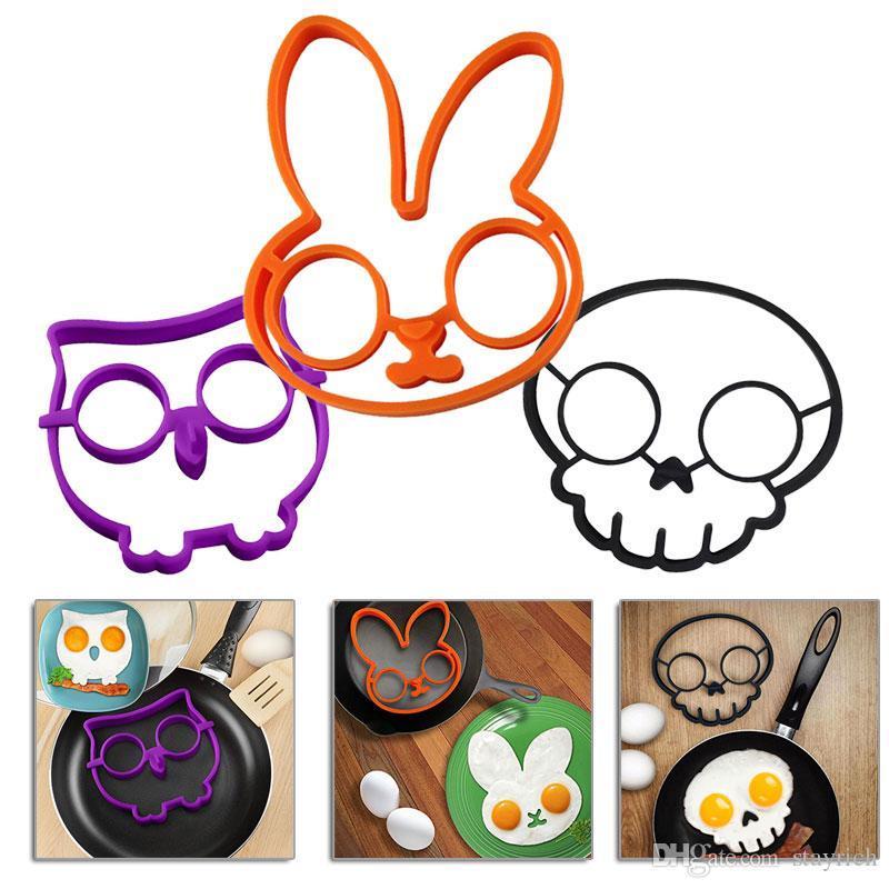 silicium Pancake Outils Moisissures oeuf mis Owl Hoot oiseaux nuage Crâne d'oeuf frit Art cuisine gadget plateau créatif coquetier drôle
