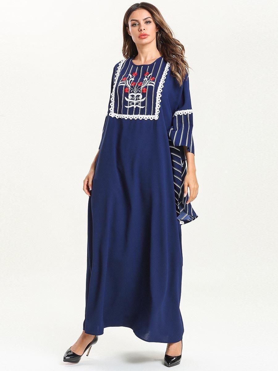 2019 femminili nuova estate più di formato etnica ricamato del manicotto del batwing maxi robe dress-2 T200604