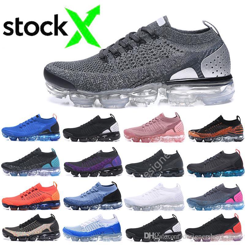 Descuento nuevo 2018 Fly 2.0 triples para hombre blanco y negro de los zapatos corrientes de las mujeres transpirable Rojo Azul Chaussures Cojín tejer zapatillas de deporte Zapatos
