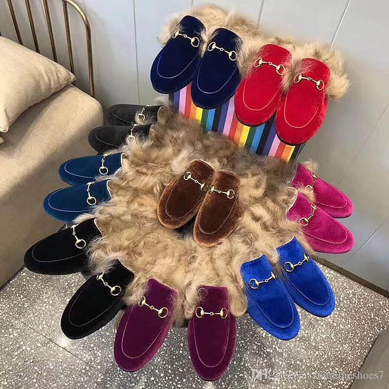 Señoras de los hombres de los zapatos ocasionales de las mujeres los hombres al aire libre de las mujeres Zapatillas Pisos pelo de piel de conejo Zapatilla Diapositivas mulas zapatos de mujer que los hombres QQ1 cómodo