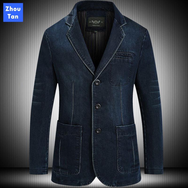 Moda chaqueta de mezclilla para hombres Blazer otoño del resorte sólido Traje Marca Ropa ocasional del algodón transpirable bolsillos solo pecho