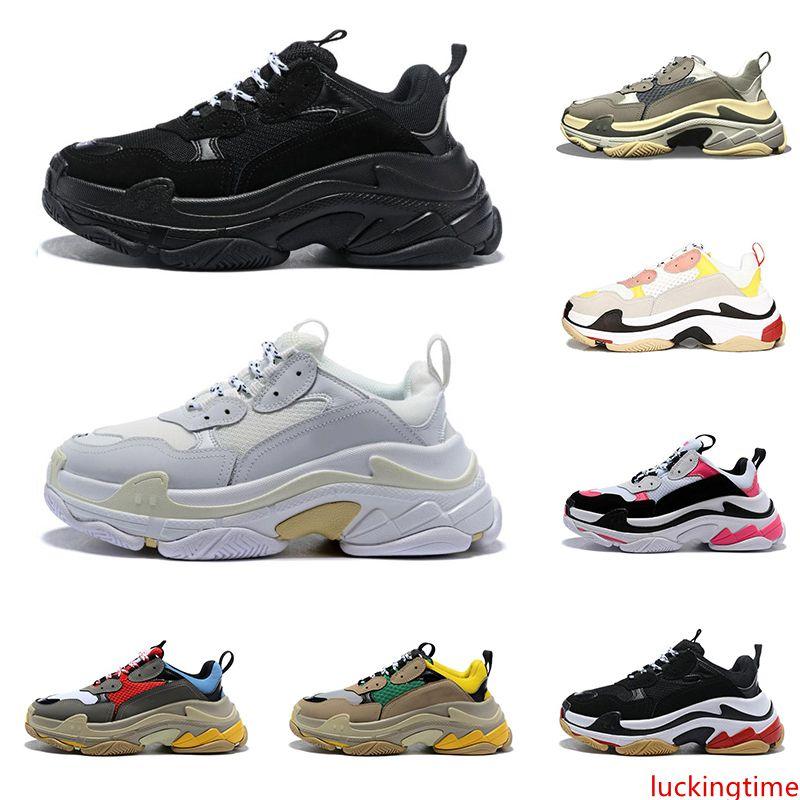 2020 üçlü s tasarım Ayakkabı Erkekler kadınlar için vintage sneakers siyah beyaz Bred pembe 20fw lüks erkek eğitmenler büyük sole spor sneakers