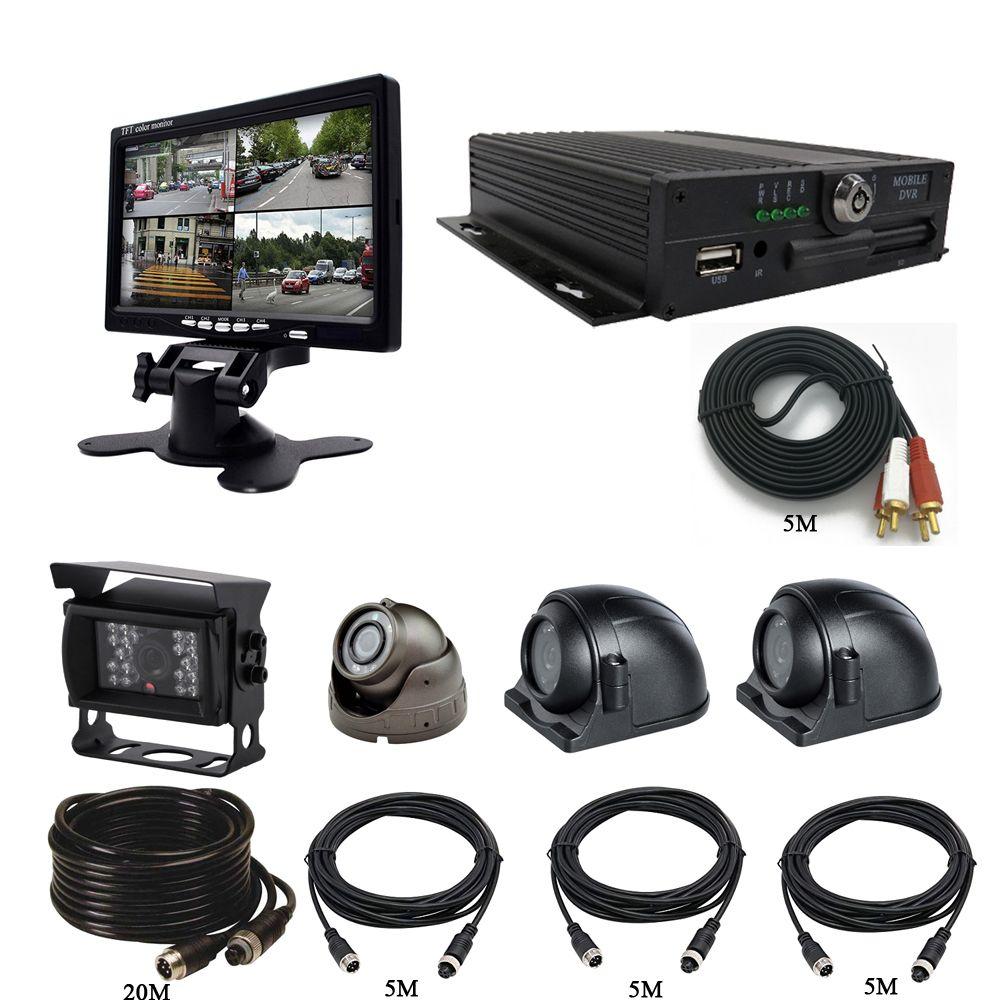 "7/"" 4 CH Video Recorder SD 720P AHD Car Mobile DVR CCTV System DVR AHD Camera"