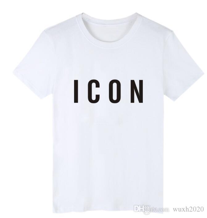 nuova marca di modo Icona maglietta 2019 uomini stampa casuale con cotone Icona di Hip Hop Short Sleeve Tee shirt 3XL