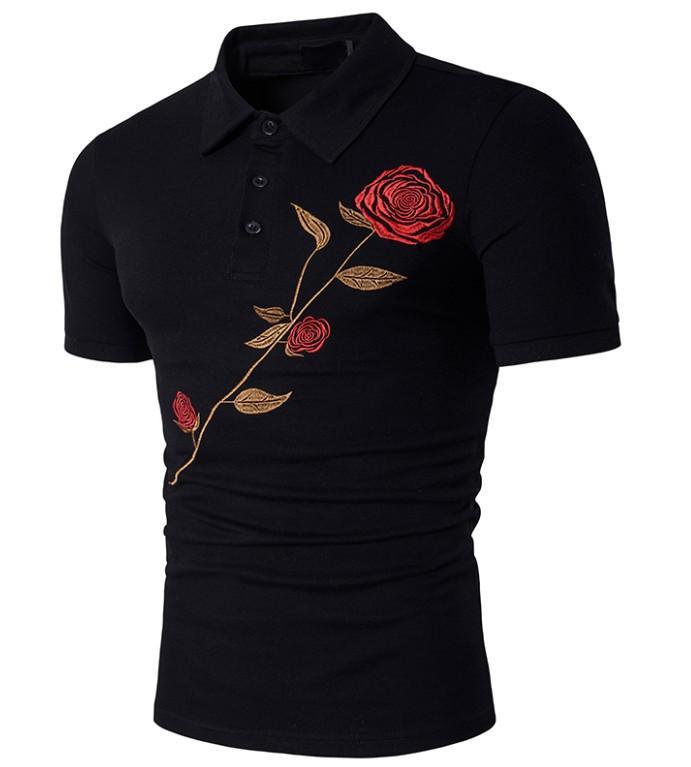 Summer suit new personality rose print men's Lapel T-shirt