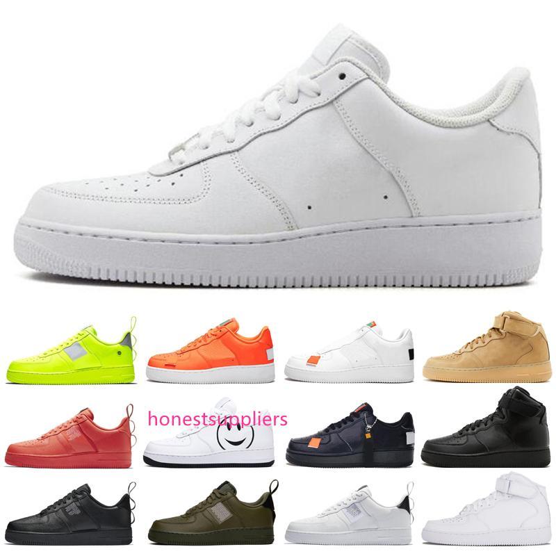 Femmes New Mens Casual Shoes ont une triple jour Hommes blé Haut Bas Volt Blanc Noir Noir Olive Orange Juste Chaussures de sport Designer