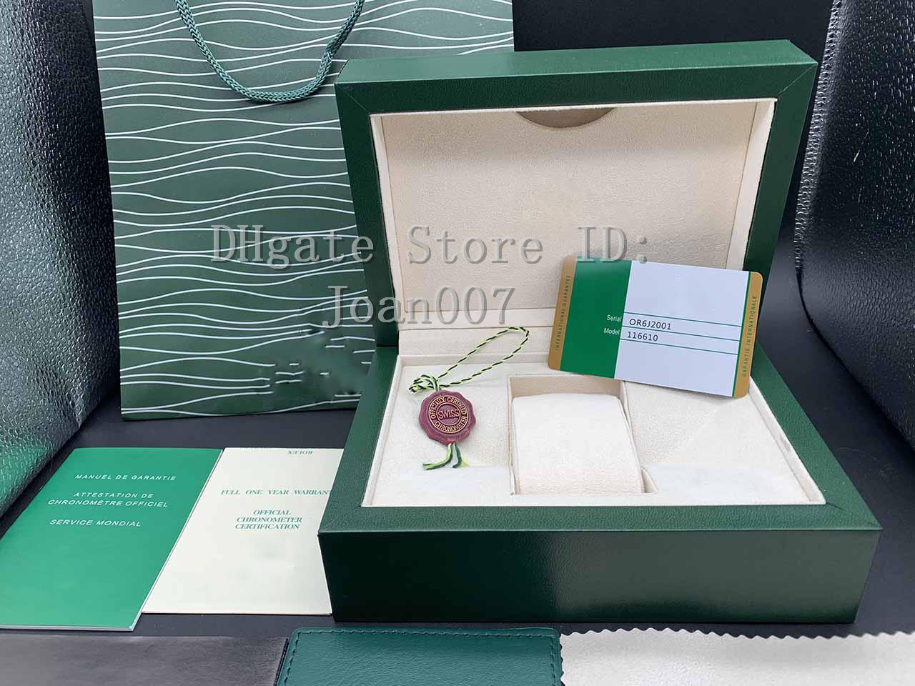 Factory Supplier High Quality Green Box Papers Gift Watches Boxes Leather Bag Card For 116610 116660 116610LV 116613 116500 Watch Boxes