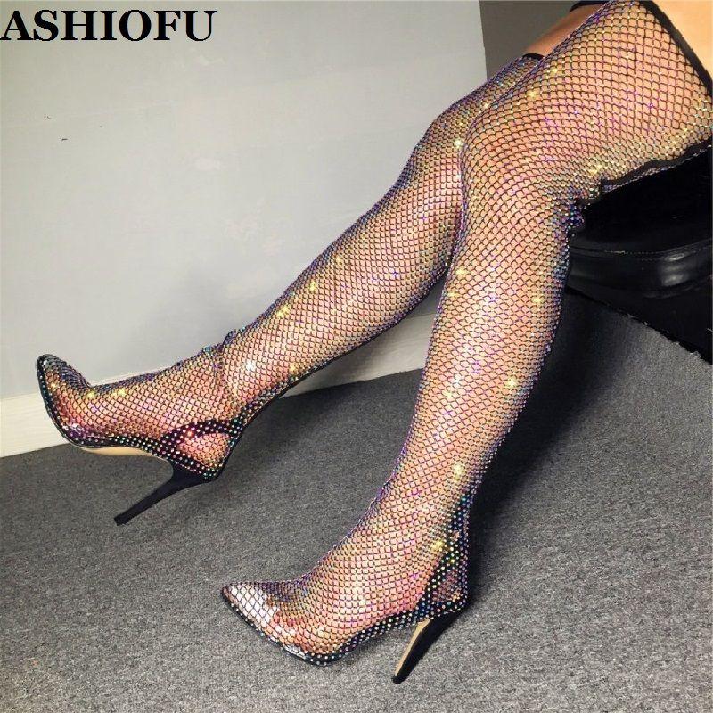 ASHIOFU Handmade New Ladies Thigh High Pumps Fish-net PVC Sexy Club Party Dress Shoes Evening Fashion Stocking Style Court Shoes