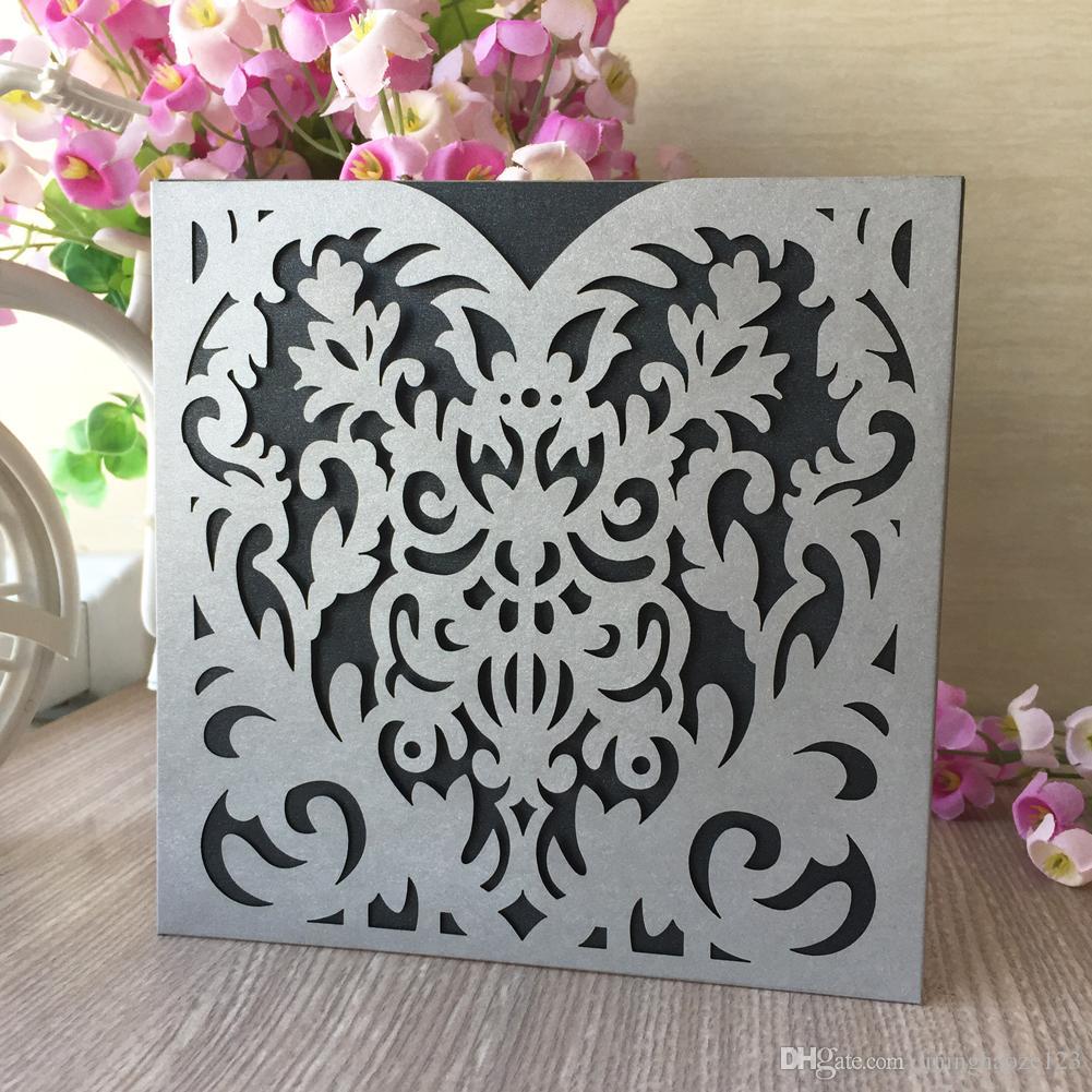 Mejor venta Corazón de plata estilo real ondulación hueco corte por láser papel perla invitación de boda matrimonio aniversario fiesta de cumpleaños tarjeta de visita