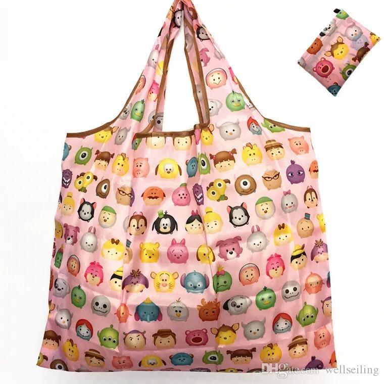 Волшебный стиль нейлон Большой Tote ECO многоразовый полиэстер Портативный плеча сумочку мультфильм Зеленый складной мешок хозяйственная сумка складная