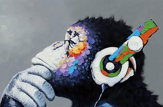 Headphone Música macaco Wall Art Pictures para Living Room Home Decor pintado à mão HD Pinturas Imprimir óleo sobre tela 200117