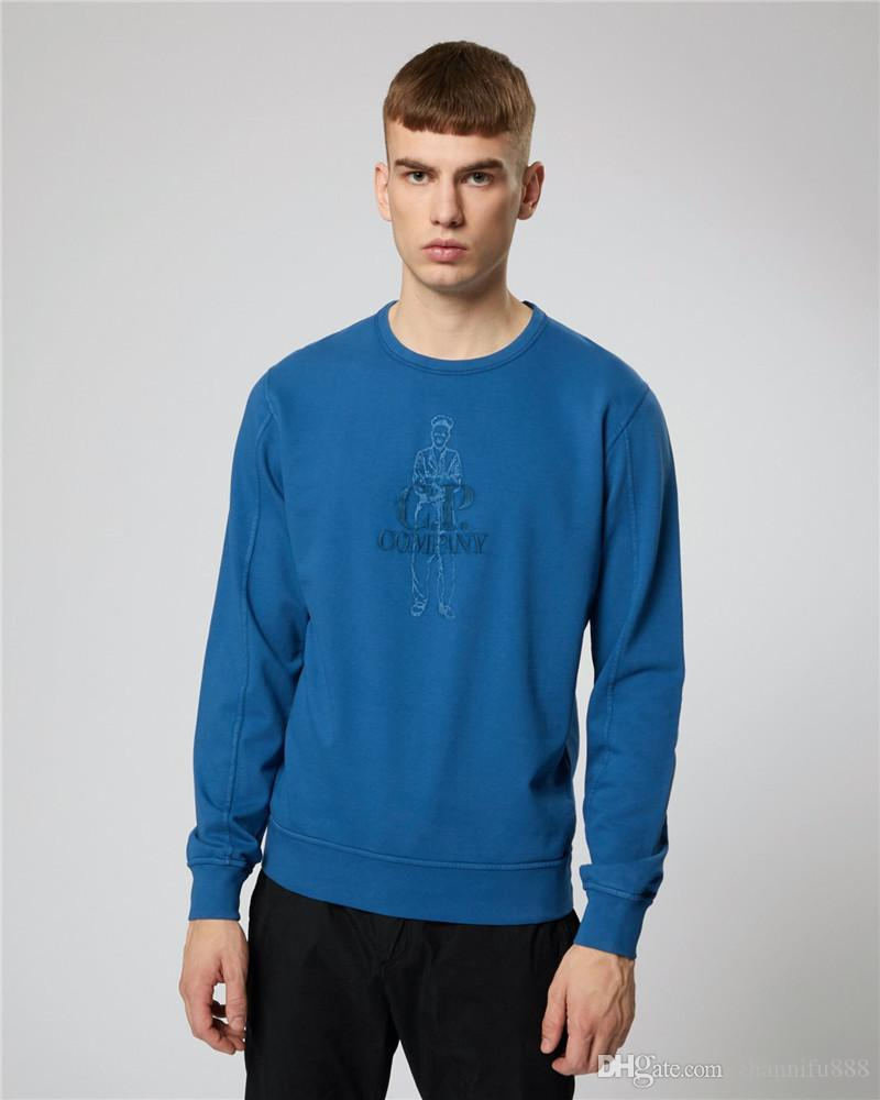 19SS mens sweater weather classic sports brand fashion sweatshirts round neck boutique material head wash embroidery two-color clothing