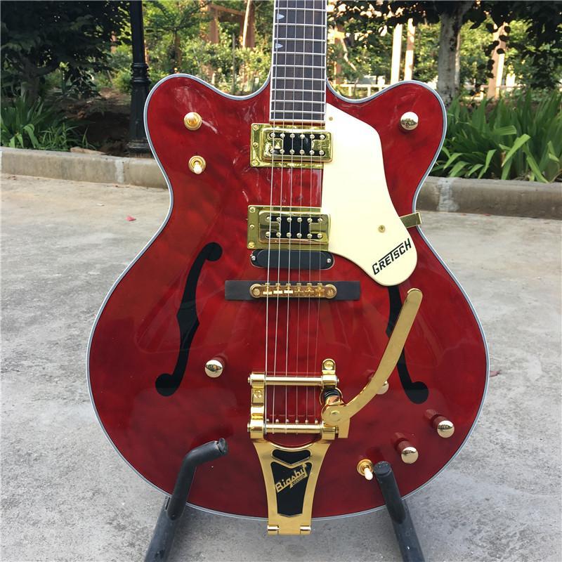 Custom Shop. F cavità del corpo di jazz chitarra elettrica, oro hardware.Red colore chitarra, vibrato sistema guitarra