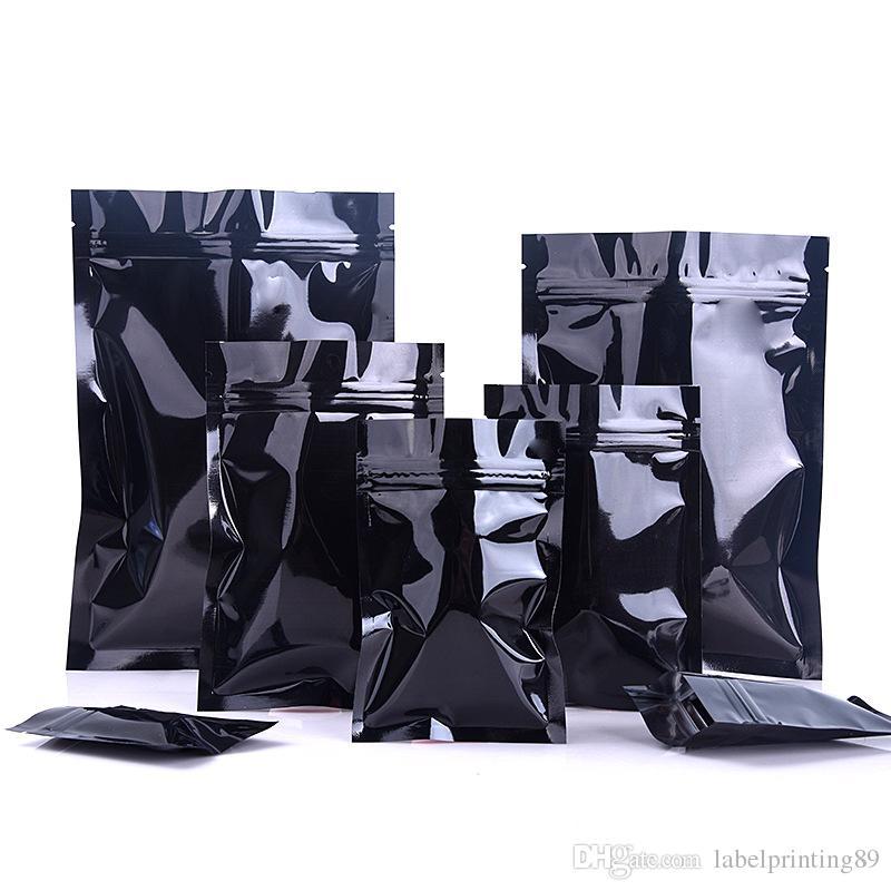 100 шт. 10 Размеры Глянцевая черная алюминиевая фольга zip замок Пакетные сумки плоские нижние молнии уплотнительные пакеты пакеты еда милар