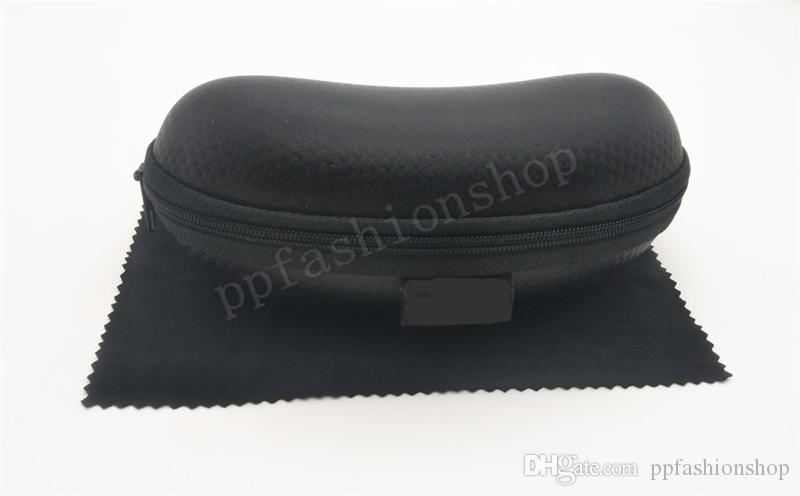 Carerc Hard Zipper Gancho óculos de sol Caixa caixa de compressão óculos caso preto plástico esportes esportes sol caso + pano de óculos