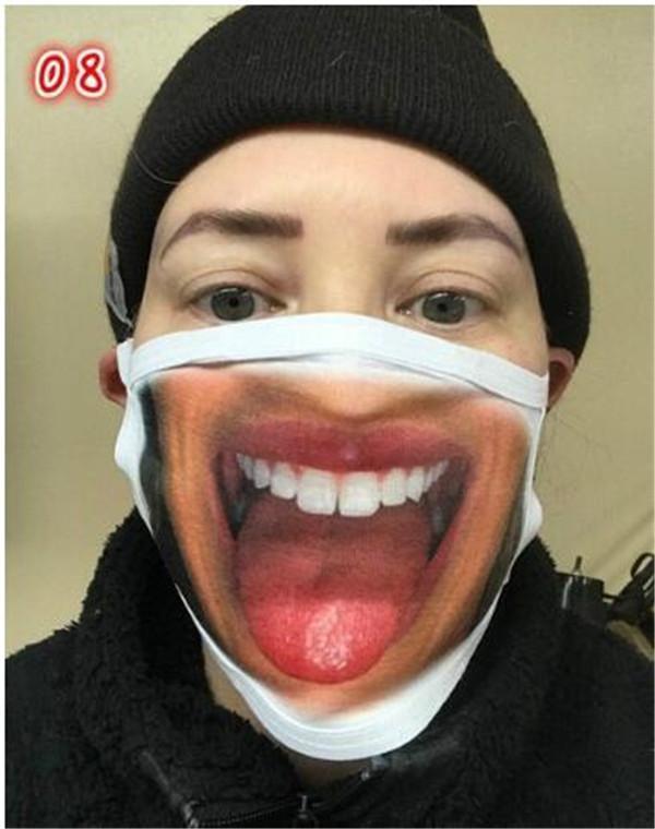Vente chaude réutilisable masques Cartoon Impression 3D bouche Masque drôle Masque anti-poussière Ultraviolet épreuve Lavable Courir Équitation Masque DHA529