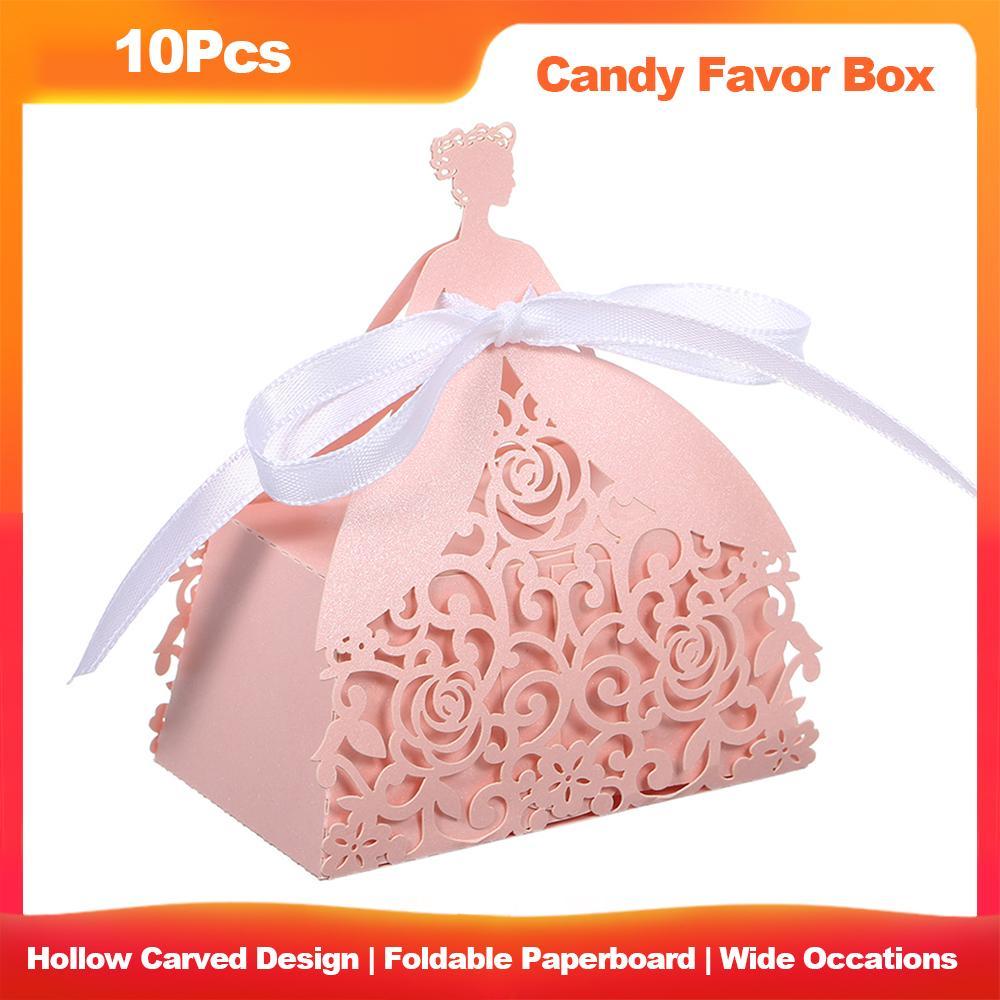 10pcs corte del laser del favor Cajas Hollow diseño del caramelo de la caja de regalo con cintas para fiesta de cumpleaños boda nupcial de la ducha plegable