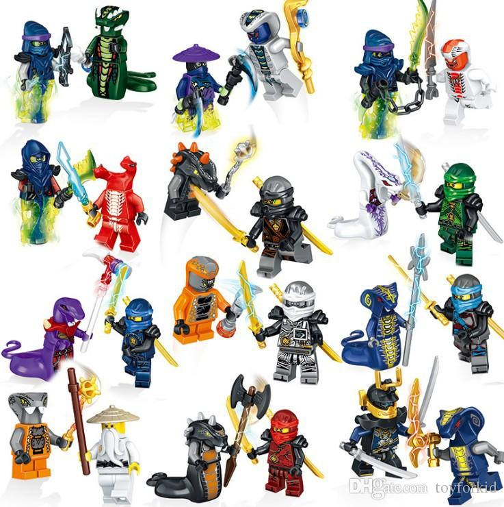 24pcs Ninja Mini Toy Action Figure Ghost Evil Ninja Pythor Chop'rai Mezmo Serpentine Army Building Blocks