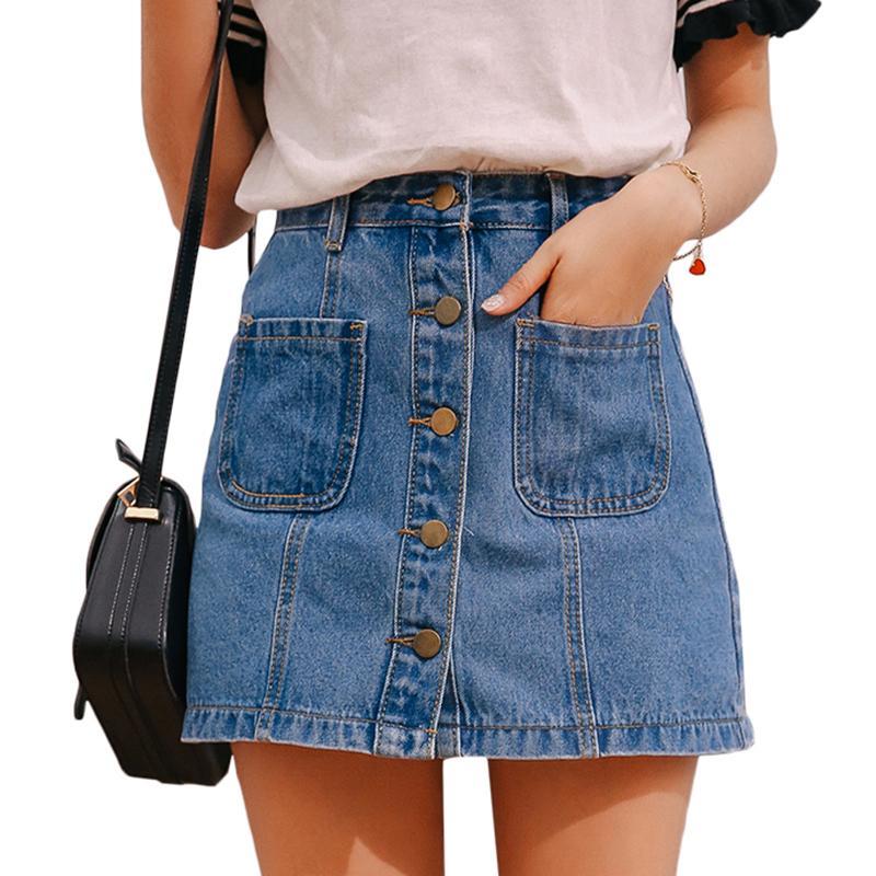 Button Designer Donne Gonne vita alta gonna Una linea mini Gonne Donna Nuovi arrivi singolo Tasche Jean blu Primavera Gonna Stile Saia