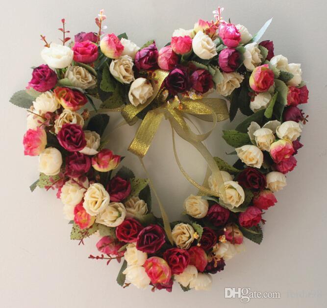 En forma de corazón rosa colgando guirnalda flores guirnalda con cinta de seda para el hogar puerta decoración de la pared decoración de coches de boda flores GB241