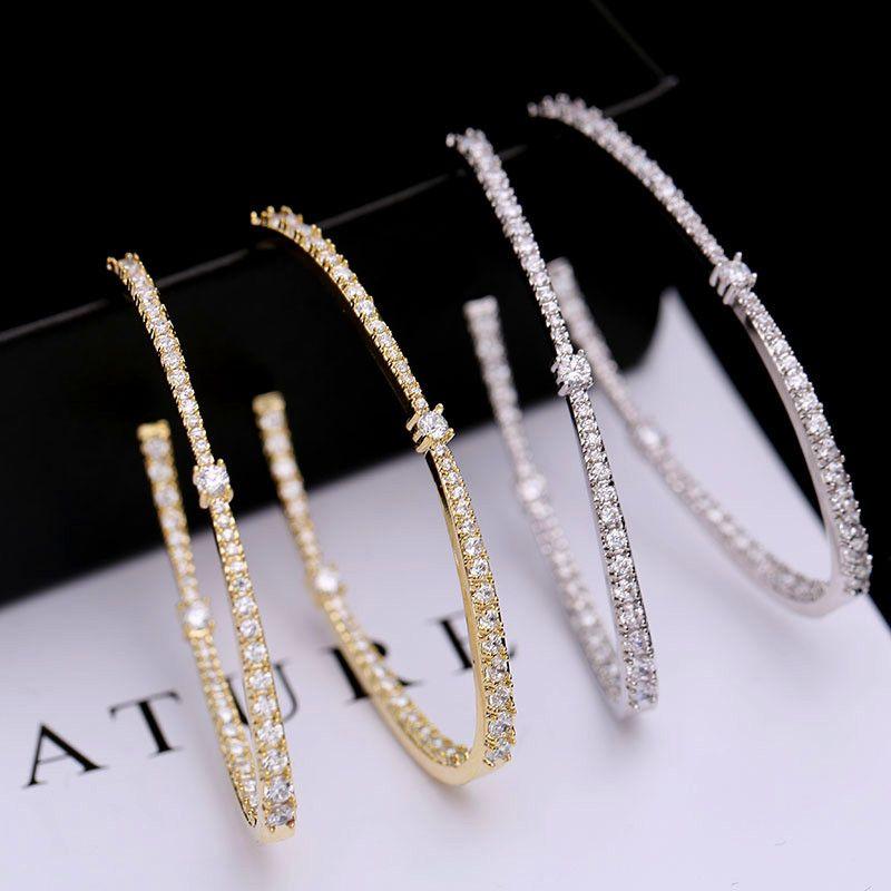 Vecalon 925 Pendientes de aro grandes de plata de oro / color plateado para mujeres Pendientes de círculo grande 925 Joyas de plata esterlina Accesorios de fiesta
