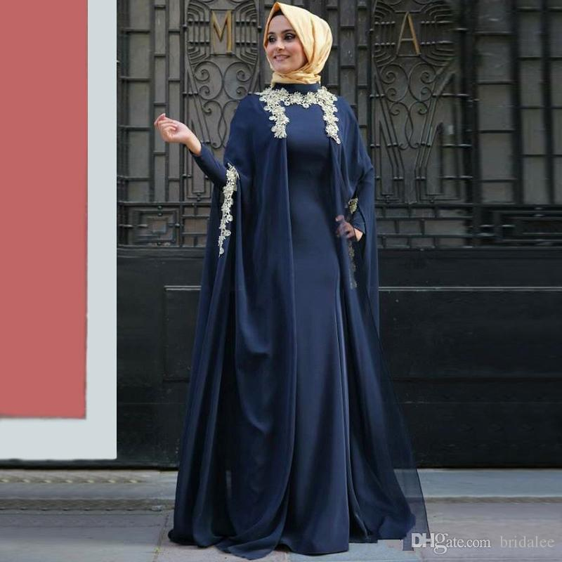 Azul marinho Muçulmano Vestidos de Noite 2020 Uma Linha de Manga Comprida Chiffon Rendas Islâmico Dubai Saudita Árabe Longo Prom Vestido de Noite