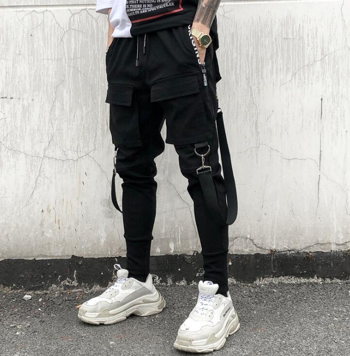 남성 바지 힙합 패치 워크화물 스웨트 팬츠 조깅 바지 남성 패션 측이 전체 길이의 바지 주머니를 찢