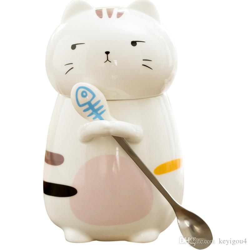 New 400ML cartoon 3D stereo cat mug Cute kitten large capacity ceramic cup Milk coffee tea mug Spoon with lid Holiday gift