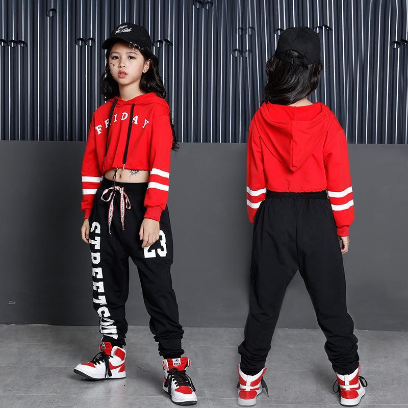 Hip Hop crianças Hoodies Vestuário para meninas recortada camisola Tops Jogger Pants Dança Jazz Roupas Costumes Ballroom Dancing desgaste
