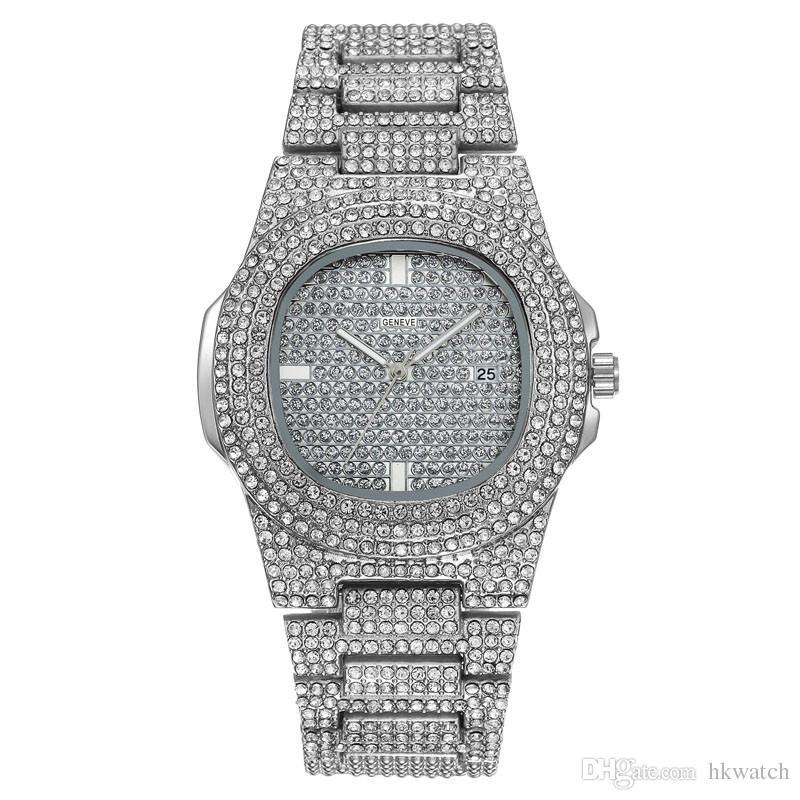 الجملة أزياء الرجال والنساء التسلق ووتش الماس مثلج خارج الساعات الفولاذ المقاوم للصدأ المصممين حركة كوارتز ساعة اليد سيدة ووتش ساعة