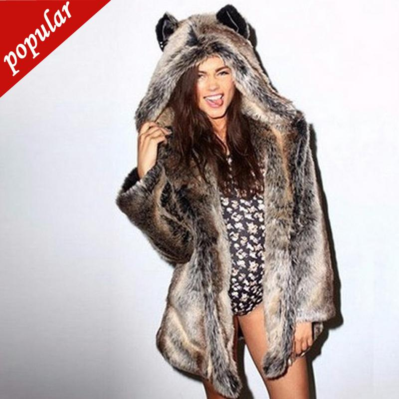 Большой размер зимняя женская мода с капюшоном Волчье ухо искусственный мех женщины имитация меха пальто средней длины искусственный мех 5xl 6xl
