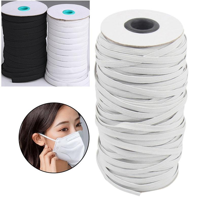 3/6mm DIY mask Braided Elastic Band Bungee Cord Rope White Heavy Stretch Knit Spool 200/144 Yards for Sewing Craft Mask Making