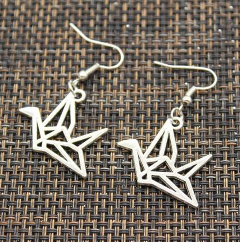 Мода 20pair Урожай Оригами бумаги Краны серьги для женщин девушки ретро Симпатичные маленькие серьги падения ювелирных изделий