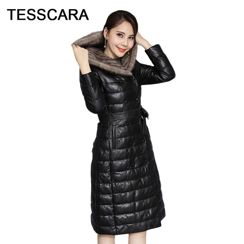Women Winter Long Hooded Jacket Coat Warm Belt Slim Stripe PU Feather Coats New Black Plus Size Female Outwear Office Clothing