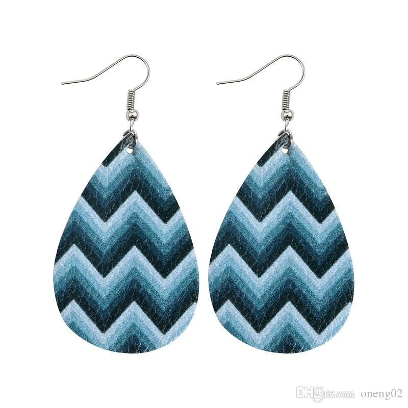 Water ripple Faux Leather Dangle Earrings for Girl Fashion Hook Party Jewelry Gifts