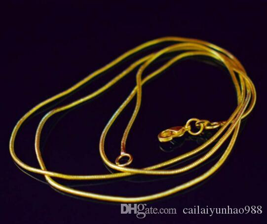 Catena placcata in oro 18K collana 1.2mm serpente mxjch