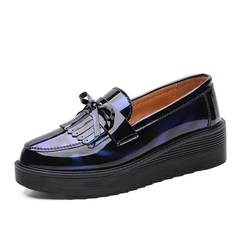 All Season borla de zapatos de los holgazanes de las mujeres de la PU de cuero de las señoras zapatos Brogue mediados de talón punta estrecha Oxford cuero para la Mujer 2020