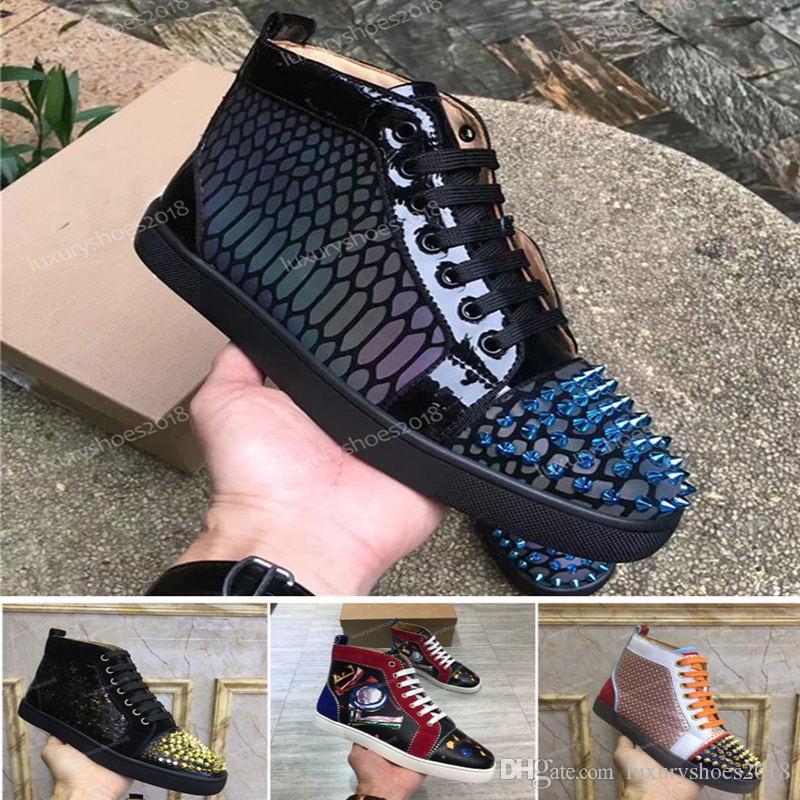 Yeni Erkek Kadın Çivili Spike Günlük Ayakkabılar Sneakers Kırmızı Sole Alt Deri Süet Graffiti Spike Sneakers CHAUSSURES Ayakkabı