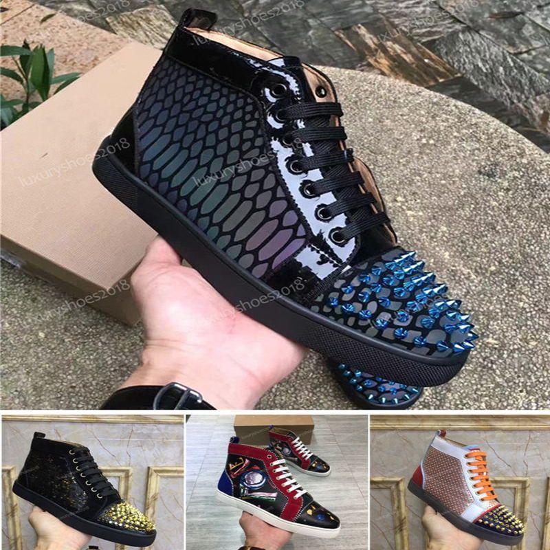 New Mens Frauen verzierte Spitzen-beiläufige Schuh-Turnschuh-rote alleinige Unterseite Leder und Wildleder Graffiti-Spitzen-Schuh-Turnschuhe Chaussures