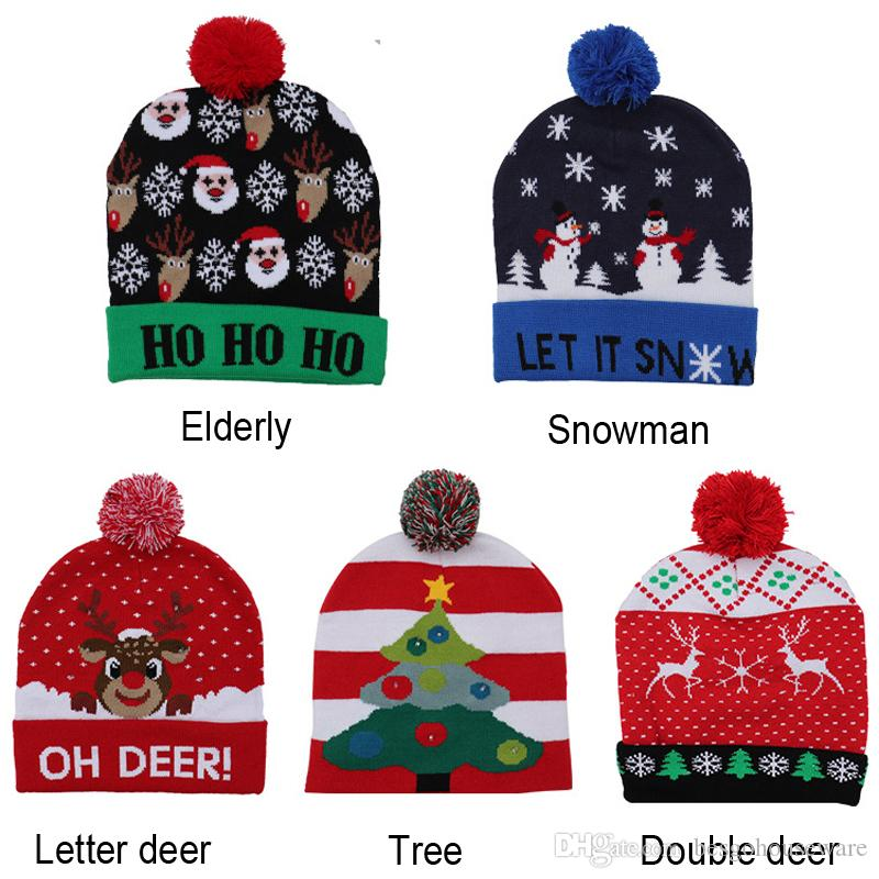 LED 크리스마스 모자 응원 니트 모자 아이 성인 모자 귀여운 만화 산타 클로스 크리스마스 트리 엘크 모자 비니 모자 크리스마스 BH2438 WCY 인쇄하기