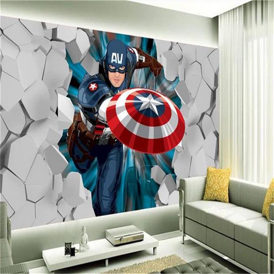 custom size 3d photo wallpaper living room bed room kids mural Captain America stone wall 3d picture sofa TV backdrop wallpaper wall sticker