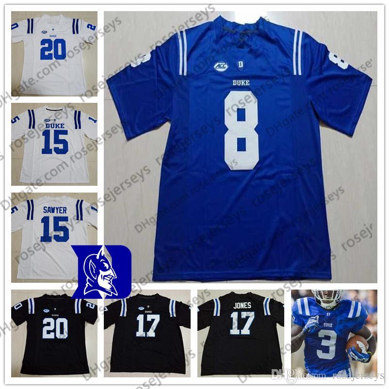 NCAA Duke Blue Devils Fußball # 4 Myles Hudzick 5 Jalon Calhoun 6 Eli Pancol 8 Aaron Young 15 Chris Katrenick Schwarz-Weiß-Trikot