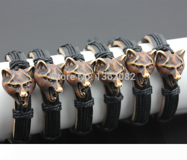 Jewelry Wholesale lot 12pcs Tribal Amulet Wolf Head Charm Leather Bracelets Surfer Bangle Gift MB85