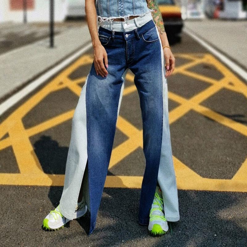 Женские джинсы повседневные Хит цвета Фронт для женщин Высокая талия Карман Пэчворк Джинсовые штаны Женский 2021 Осенняя мода