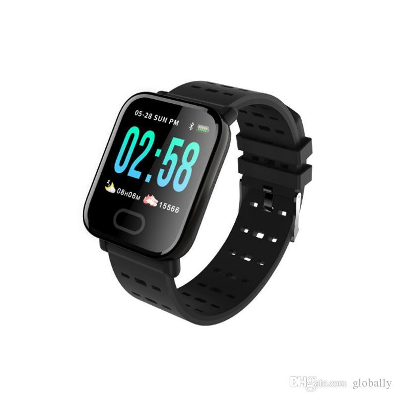 A6 معصمه ساعة ذكية لون شاشة تعمل باللمس IP67 مقاومة للماء ساعة ذكية سوار القلب رصد معدل آيفون أندرويد