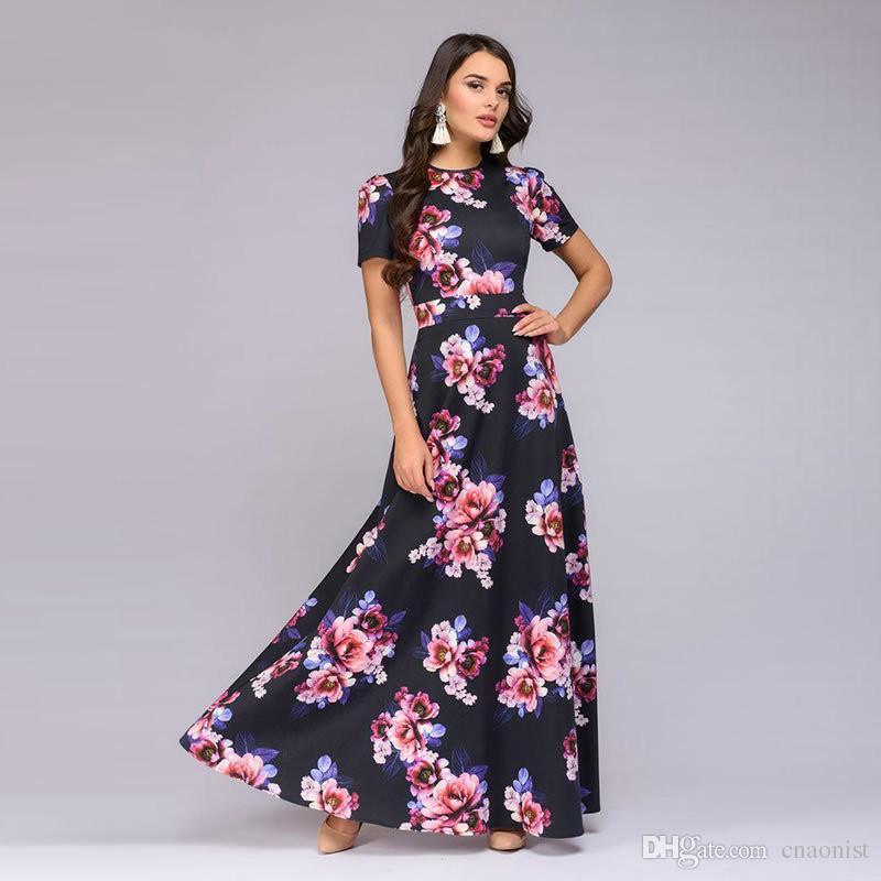 Fashion Long Summer Dress Women Elegant 2019 Short Sleeve Woman Dresses Party Vestidos Floral Print Women's Dresses Slim Sundress