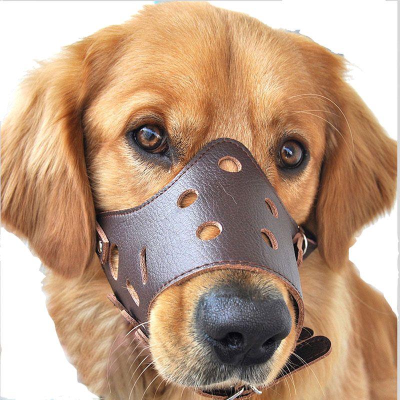 قابل للتعديل جلد الكلب كمامة مكافحة النباح دغة مضغ الكلب منتجات التدريب للكلاب الصغيرة والمتوسطة في الهواء الطلق منتجات الحيوانات الأليفة XS-XL