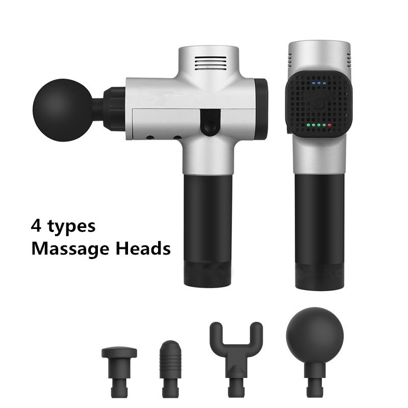 Electric Massage Gun Muscle Massager Pain Sport Massage Machine Relax Body Slimming Relief Therapy 4 Heads With Bag
