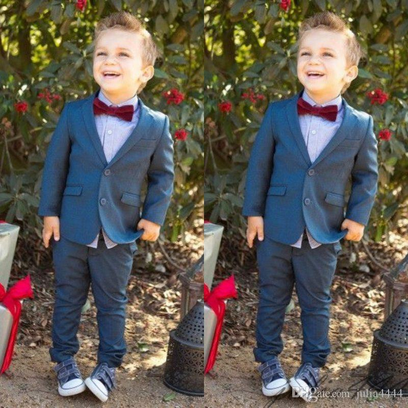 Custom Made Boy Tuxedos Notched Lapel Children Suit Ring Bearer Suits Kid Wedding/Prom Suits (Jacket+Pants+Bow)
