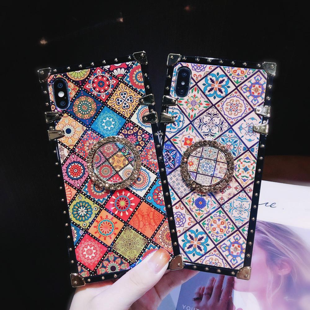 مصمم حالة الهاتف لفون 6 7 8 6S زائد X XR الصبغي X برو 11 ماكس الأزياء زهرة طباعة الهاتف القضية مع Kickstand 2 اللون